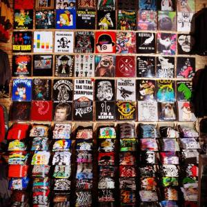 A Hot Topic wall of shirts